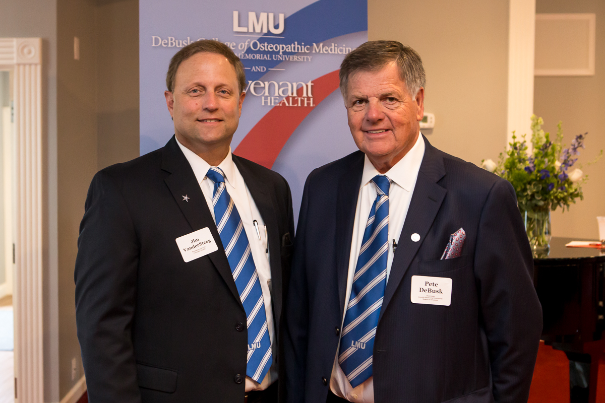 Covenant Health CEO Jim VanderSteeg and Pete DeBusk, chairman of LMU's Board of Trustees, were among the keynote speakers at the launch of the new medical student program on July 19.